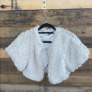 Faux fur bolero cropped jacket small